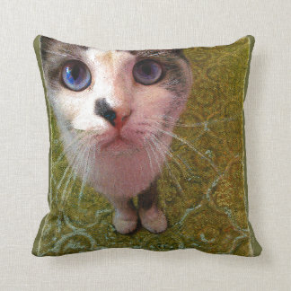Cat with blue eyes by Alexandra Cook Cushion