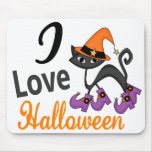 Cat With Boots I Love Halloween Mouse Mat
