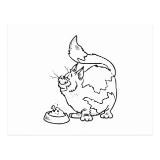 Cat with Bowl of Food Postcard