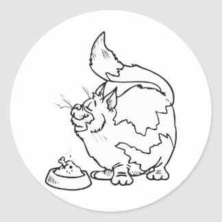 Cat with Bowl of Food Round Sticker