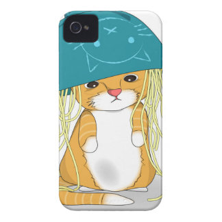 Cat with bowl of spagetti over the head iPhone 4 cover