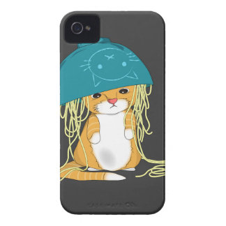 cat with bowl over the head full of spaghetti iPhone 4 Case-Mate case