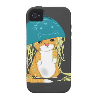 cat with bowl over the head full of spaghetti iPhone 4 covers