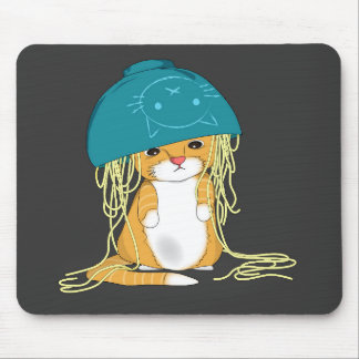 cat with bowl over the head full of spaghetti mouse pad