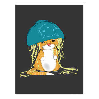 cat with bowl over the head full of spaghetti postcard
