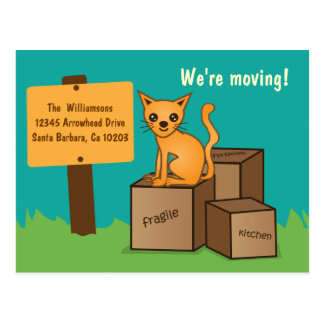 Cat with Boxes - We re Moving Post Card