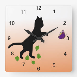 Cat With Butterfly Square Wall Clock