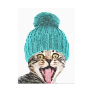 Cat with cap funny animal portrait canvas print