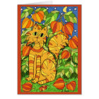 Cat with Chinese Lantern Plant