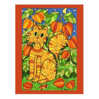 Cat with Chinese Lantern Plant Postcard