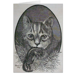 Cat with Chipmunk Victorian Christmas Card