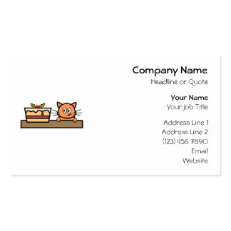 Cat with Christmas Cake Business Card Templates
