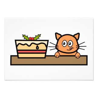 Cat with Christmas Cake Personalized Invites