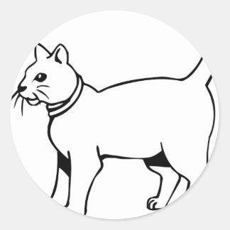 Cat with collar round sticker