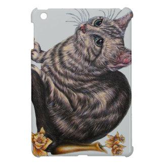 Cat with Daffodils on Hard shell iPad Mini Case