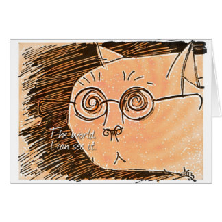 cat with eyeglasses card