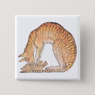 cat with fish 15 cm square badge