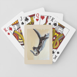 cat with fish playing cards