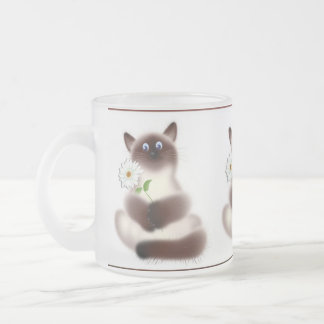 Cat with Flower Frosted Glass Mug