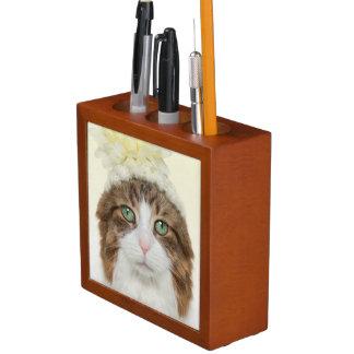 Cat With Flower Hat Desk Organiser