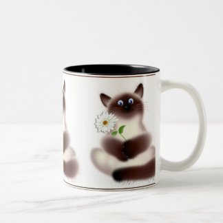 Cat With Flower Two-Tone Coffee Mug