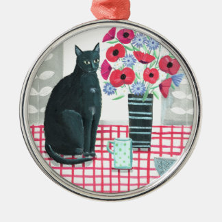Cat with flowers christmas ornament