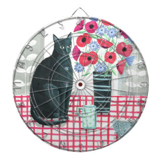 Cat with flowers dartboard