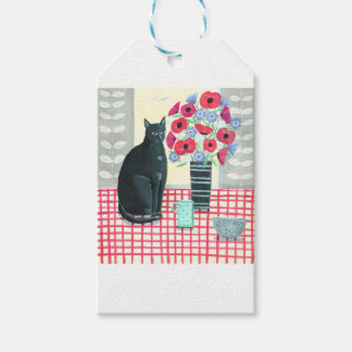 Cat with flowers gift tags