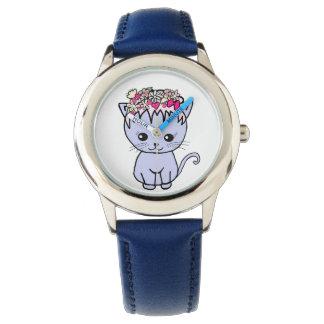 cat with flowers wristwatch