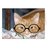 Cat with glasses and books greeting card