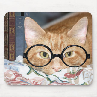 Cat with glasses and books mouse mat