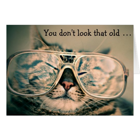 Cat with Glasses: Funny Birthday Card