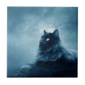 Cat with Glowing Eyes Tile