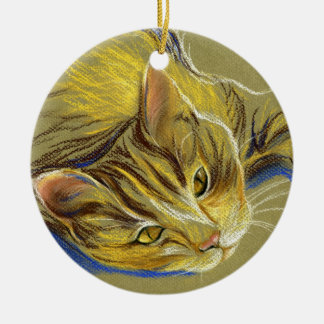 Cat with Gold Eyes - Pastel Drawing Christmas Ornaments