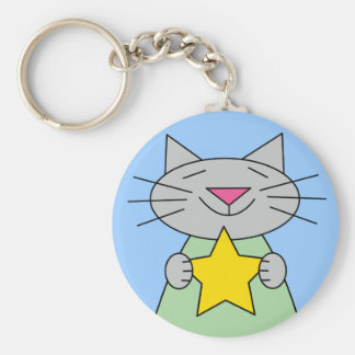 Cat with Gold Star Award Basic Round Button Key Ring