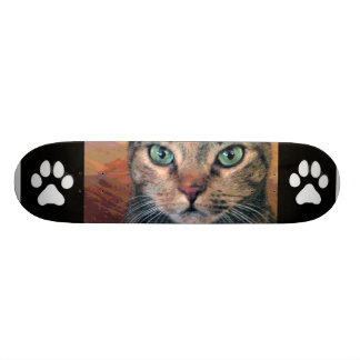 Cat with Green Eyes Skate Board