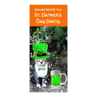 CAT WITH GREEN IRISH BEER ST PATRICK'S DAY PARTY INVITES