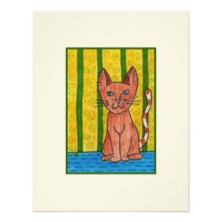 Cat with Green Stripes ACEO Personalized Invites