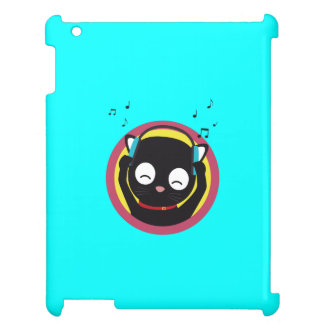 Cat with headphones hears music Q1Q Case For The iPad