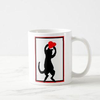 Cat with heart basic white mug
