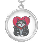 Cat with heart necklace