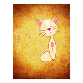 Cat with Heart Nose & Tail Postcard