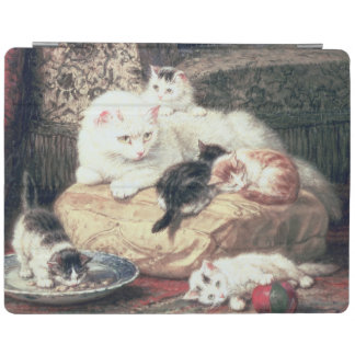 Cat with her Kittens on a Cushion iPad Cover
