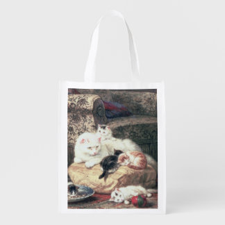 Cat with her Kittens on a Cushion Reusable Grocery Bag