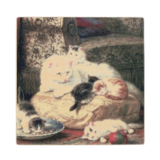 Cat with her Kittens on a Cushion Wood Coaster
