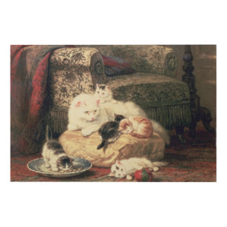 Cat with her Kittens on a Cushion Wood Wall Decor