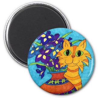 Cat with Irises in Talavera Vase Refrigerator Magnets