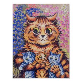 Cat with Kittens, Louis Wain Poster