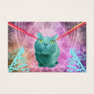 Cat with laser eyes business card