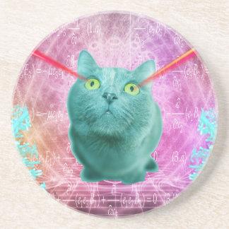 Cat with laser eyes coaster